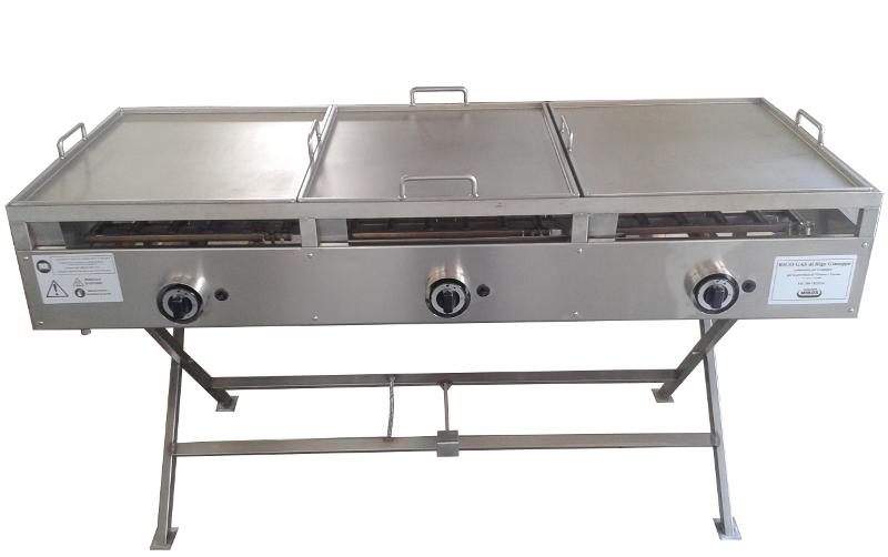 Piastra cottura Mibos 3 bruciatori - Piastra in acciaio inox per cucinare - piastra per piadine professionale